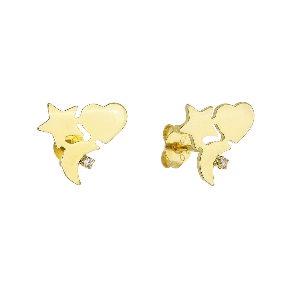 Brinco Lua Estrela e Coração com Zircônia Folheado em Ouro 18k - Giro Semijoias