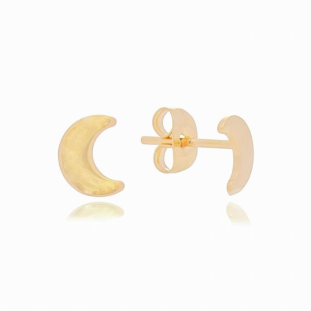 Brinco Lua Lisa P Folheado em Ouro 18k