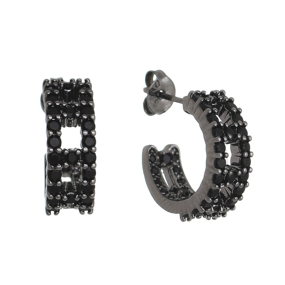 Brinco Meio Círculo Vazado Zircônias Preta Hera- Ródio Negro