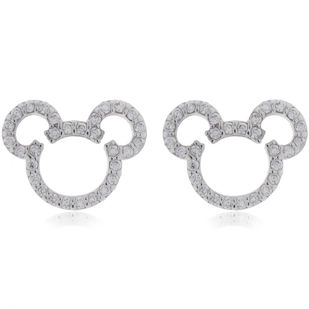 Brinco Mickey com Zircônia Ródio Branco - Giro Semijoias