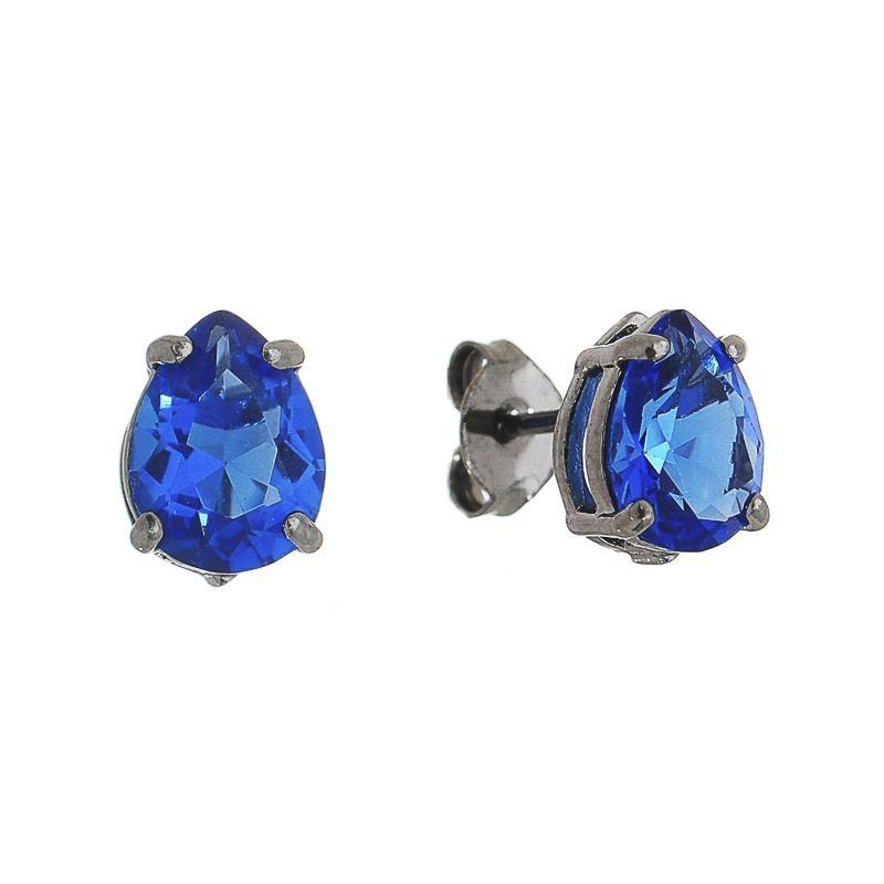 Brinco Mini Gota Cristal Azul Ródio Negro- Giro Semijoias