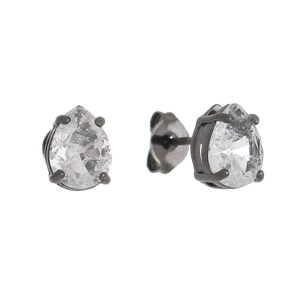 Brinco Mini Gota Cristal Incolor Ródio Negro- Giro Semijoias