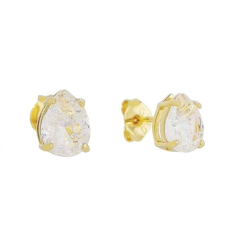 Brinco Mini Gota Cristal Incolor Ursina - Banho Ouro 18k