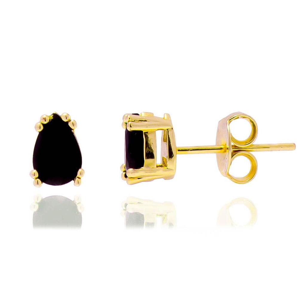 Brinco Mini Gota Cristal Preto Ouro 18k