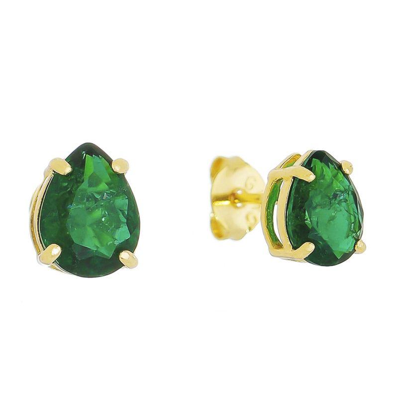 Brinco Mini Gota Cristal Verde Ouro 18k