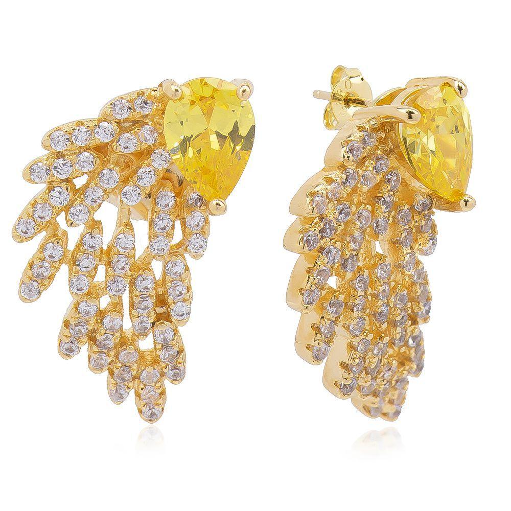 Brinco Navete com Cristal Amarelo e Zircônia Incolor Ouro 18k - Giro Semijoias