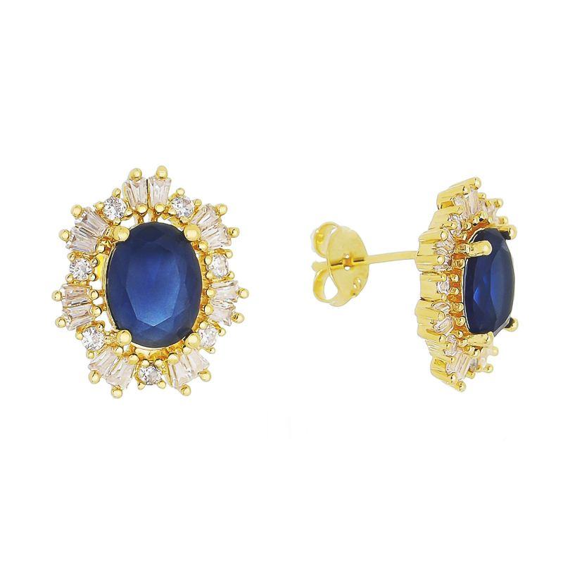 Brinco Oval Cristal Azul C/ Contorno Baguete Aida - Banho Ouro 18k