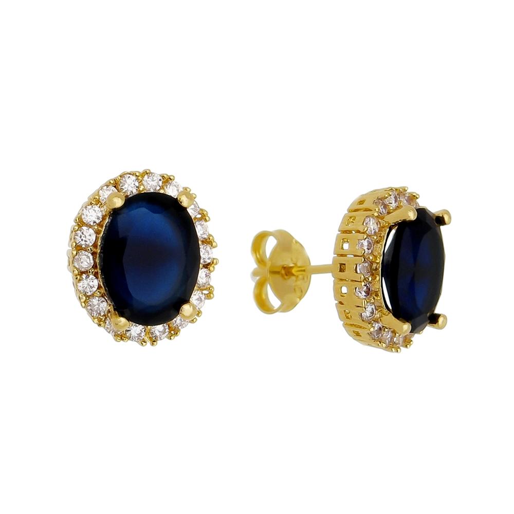 Brinco Oval Cristal Azul C/ Contorno de Zircônia Ouro 18k