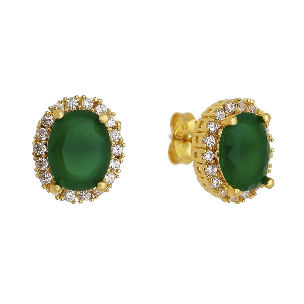 Brinco Oval Cristal Verde Cravejado em Zircônias Folheado em Ouro 18k