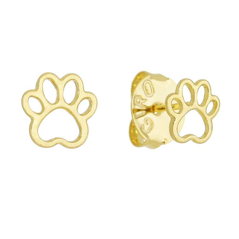 Brinco Pata De Cachorro Lisa Folheado em Ouro 18k