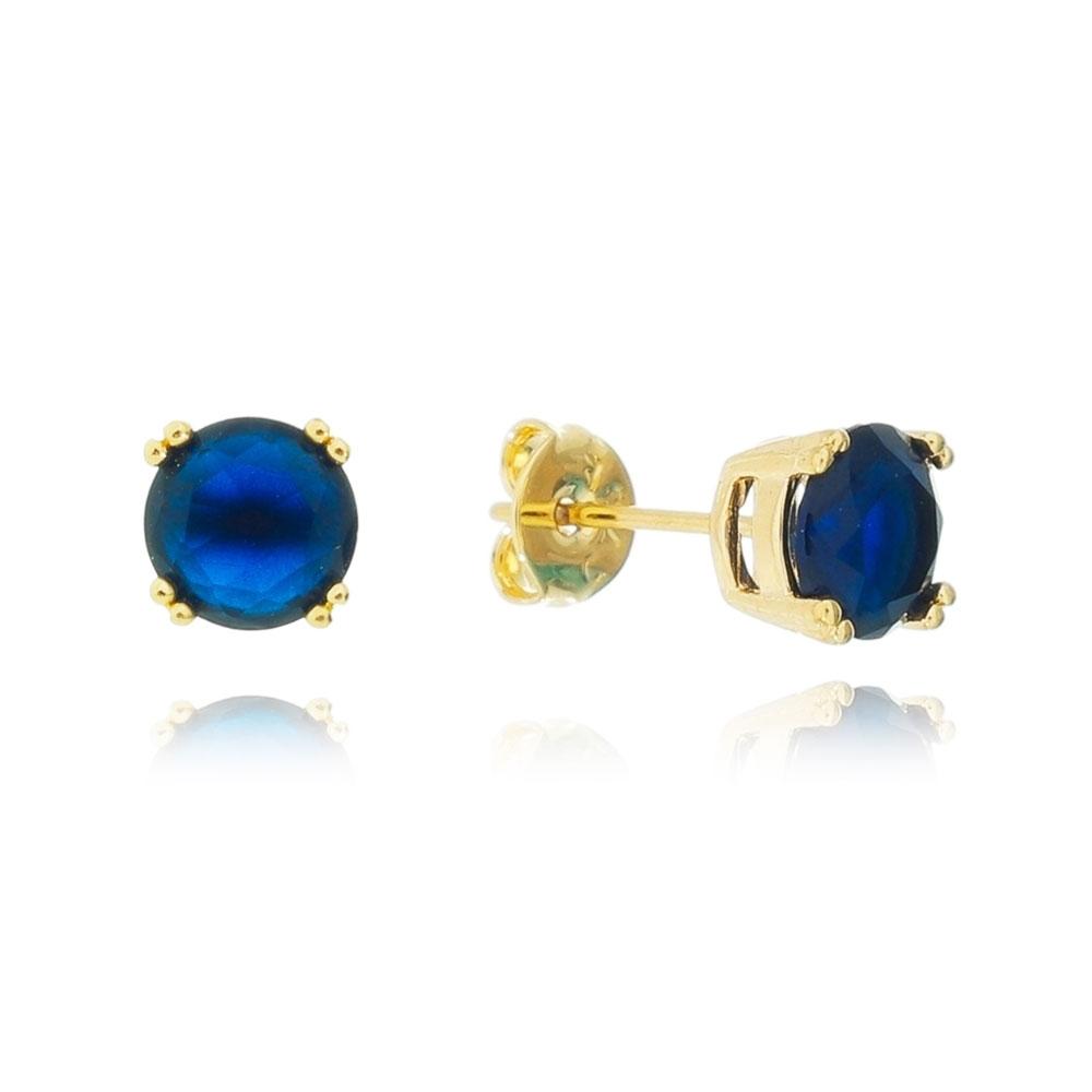 Brinco Pedra Cristal Azul Escuro 4 Garras Folheado em Ouro 18k
