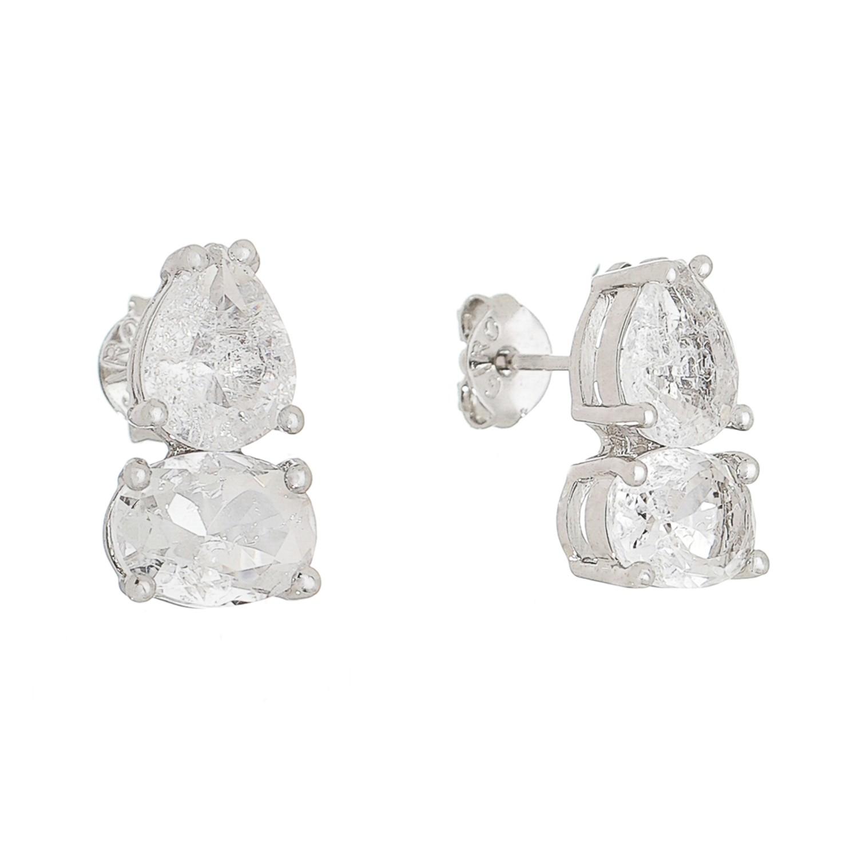 Brinco Pedra Cristal Gota Oval Incolor Iclea - Banho Ródio Branco