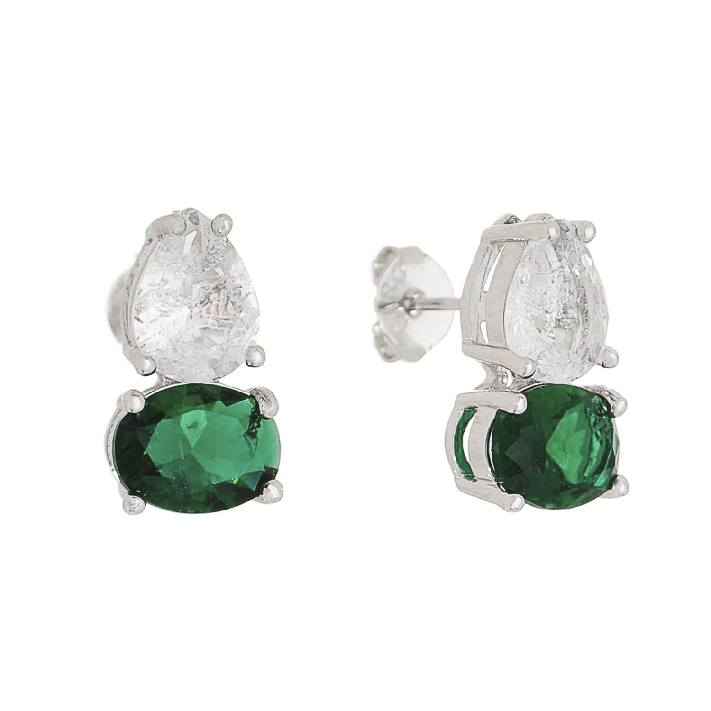 Brinco Pedra Cristal Gota Oval Verde Iclea - Banho Ródio Branco