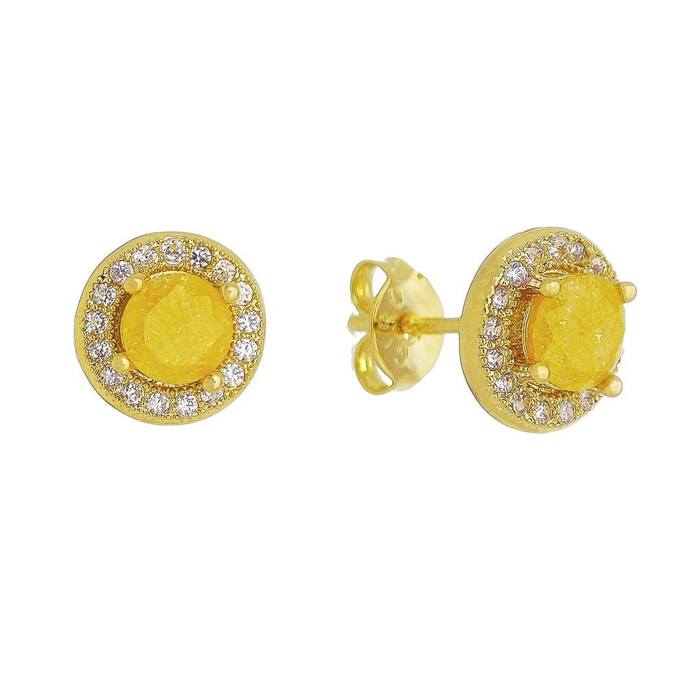 Brinco Pedra Fusion Amarelo e Contorno em Zircônias Folheado em Ouro 18k