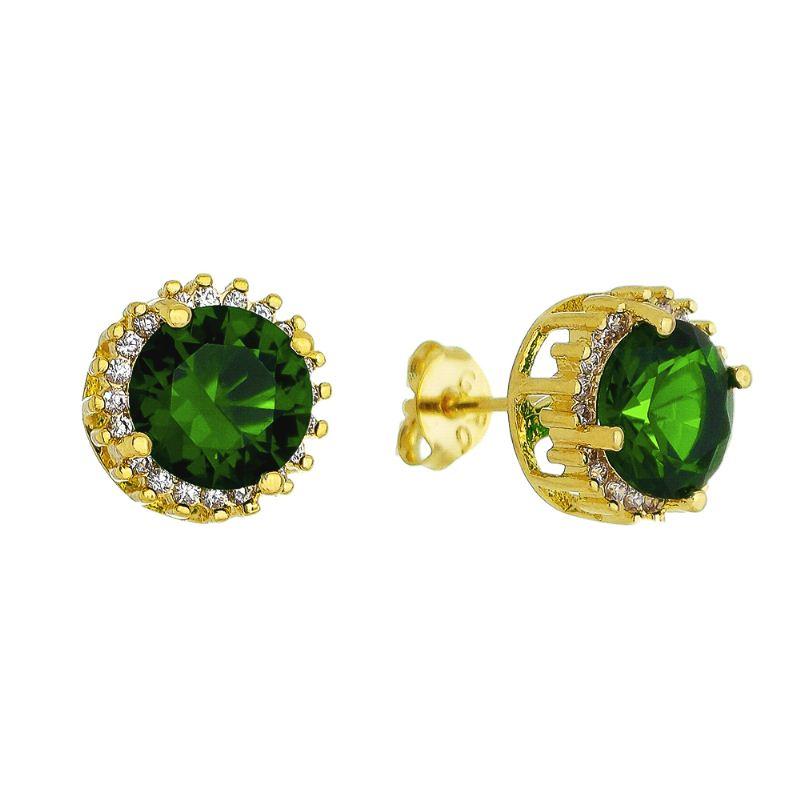 Brinco Pedra Fusion Verde e Zircônias Folheado em Ouro 18k