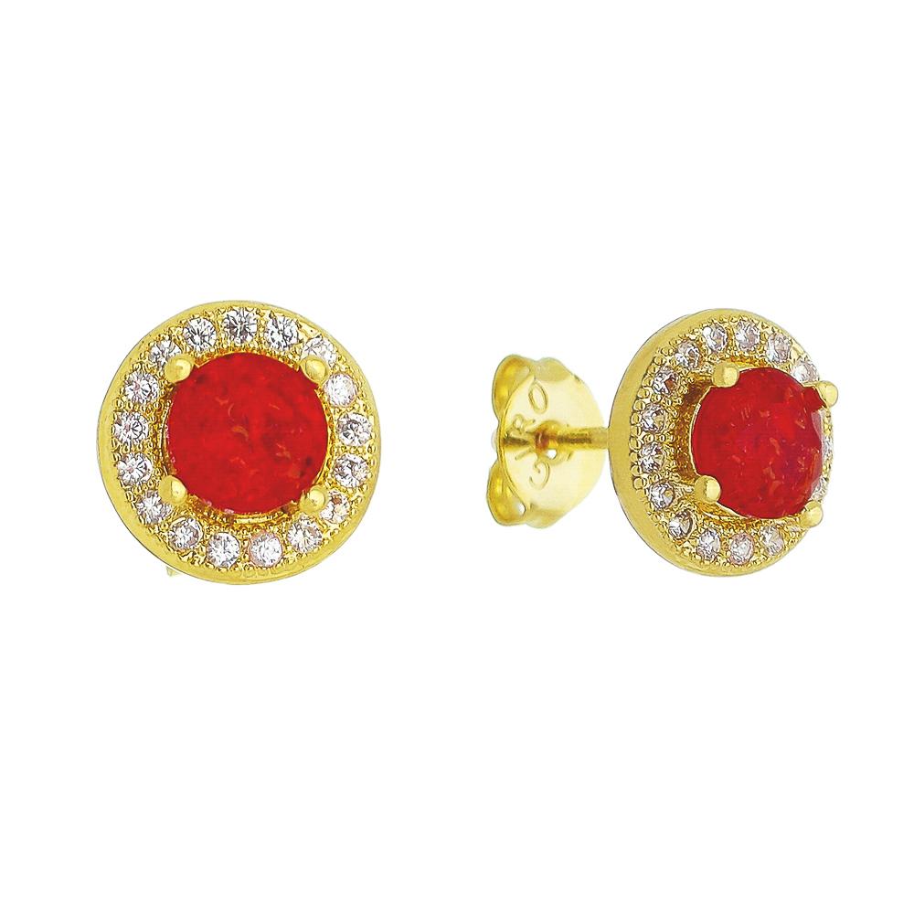 Brinco Pedra Fusion Vermelha e Contorno em Zircônias Folheado em Ouro