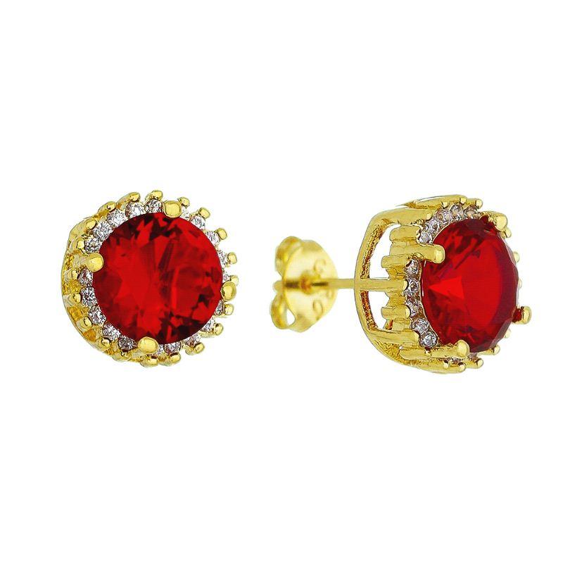 Brinco Pedra Fusion Vermelho e Contorno em Zircônias Folheado em Ouro 18k - Giro Semijoias