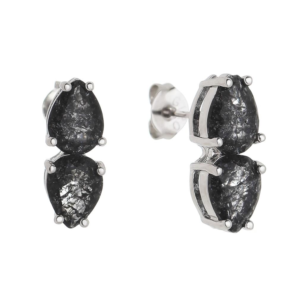 Brinco Pendurado Gota Zircônia Cristal Vala- Banho Ródio Branco