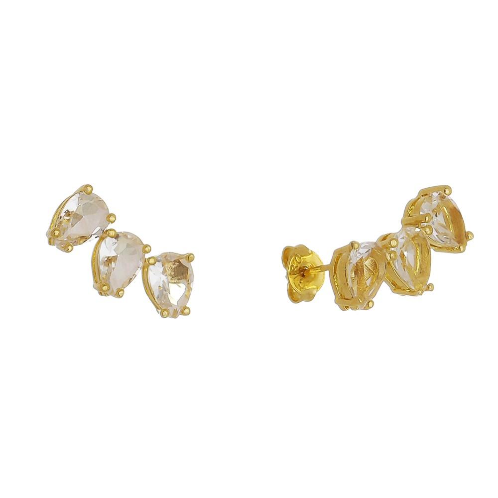Brinco Pequeno com 3 Gotas Cristal Incolor Banho Ouro 18k - Giro Semijoias