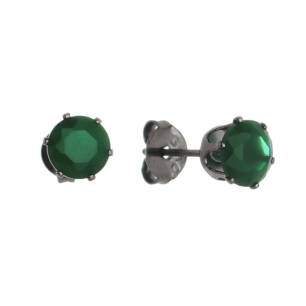 Brinco Pequeno com Cristal Verde Folheado em Ródio Negro - Giro Semijoias