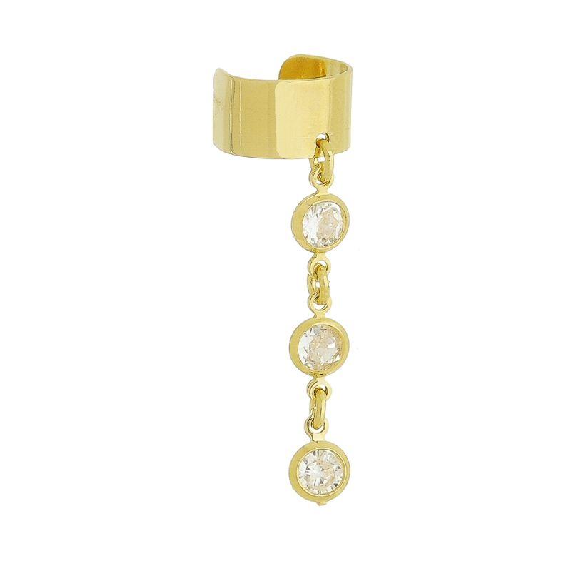 Brinco Piercing C/ Zircônia Ouro 18k