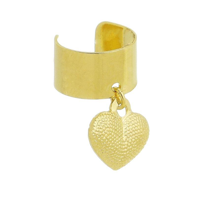 Brinco Piercing Coração Textura Ouro 18k- Giro Semijoias