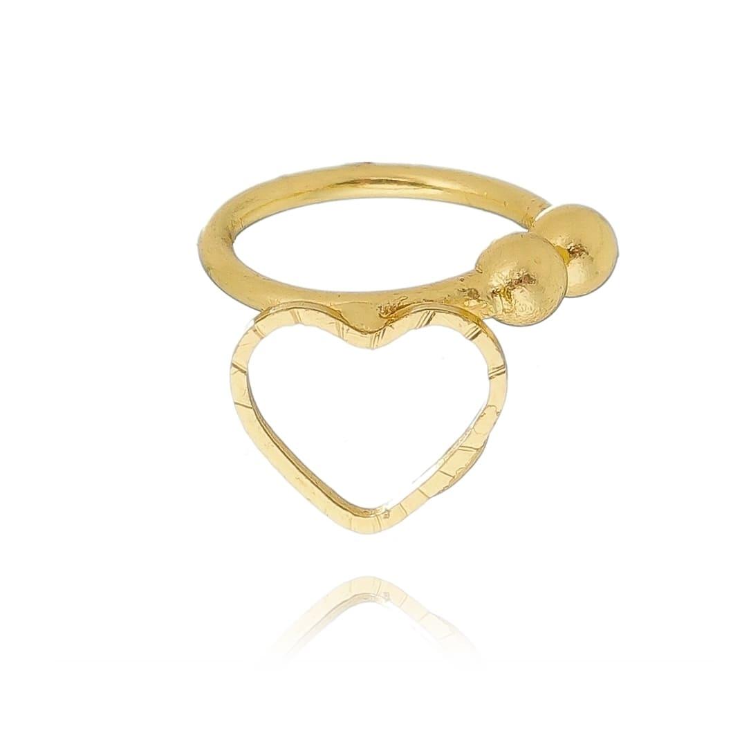 Brinco Piercing Coração Vazado Folheado em Ouro 18k - Giro Semijoias