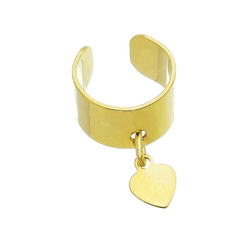 Brinco Piercing Largo Liso C/ Coração Pendurado Ouro 18k