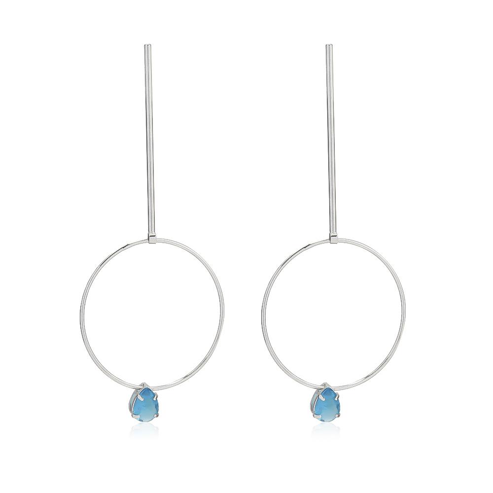Brinco Pino Círculo e Gota Pedra em Cristal Azul Folheado em Ródio Branco