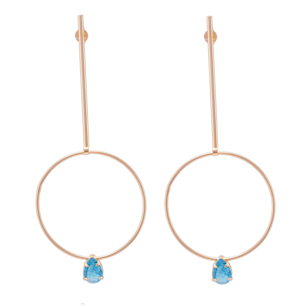 Brinco Pino com Círculo e Gota Pedra Cristal Azul Folheado em Ouro 18k