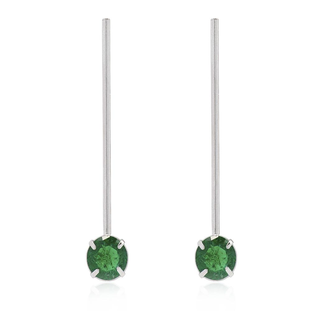 Brinco Pino com Pedra em Cristal Verde Folheado em Ródio Branco