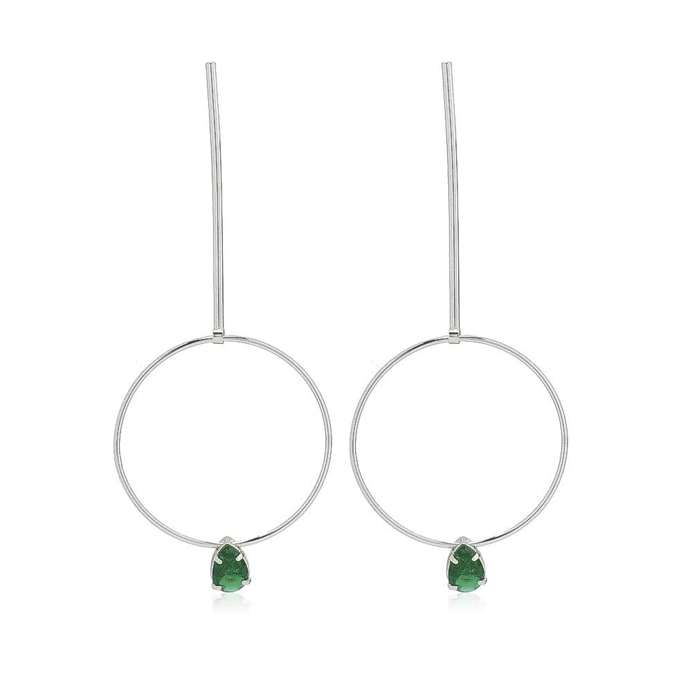 Brinco Pino e Círculo com Cristal Verde Ródio Branco - Giro Semijoias