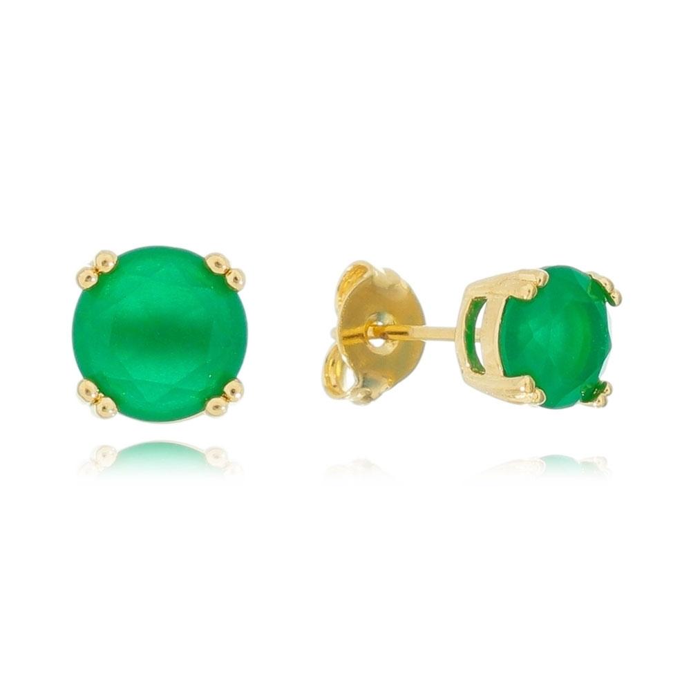 Brinco Ponto de Luz em Cristal Verde Folheado em Ouro 18k