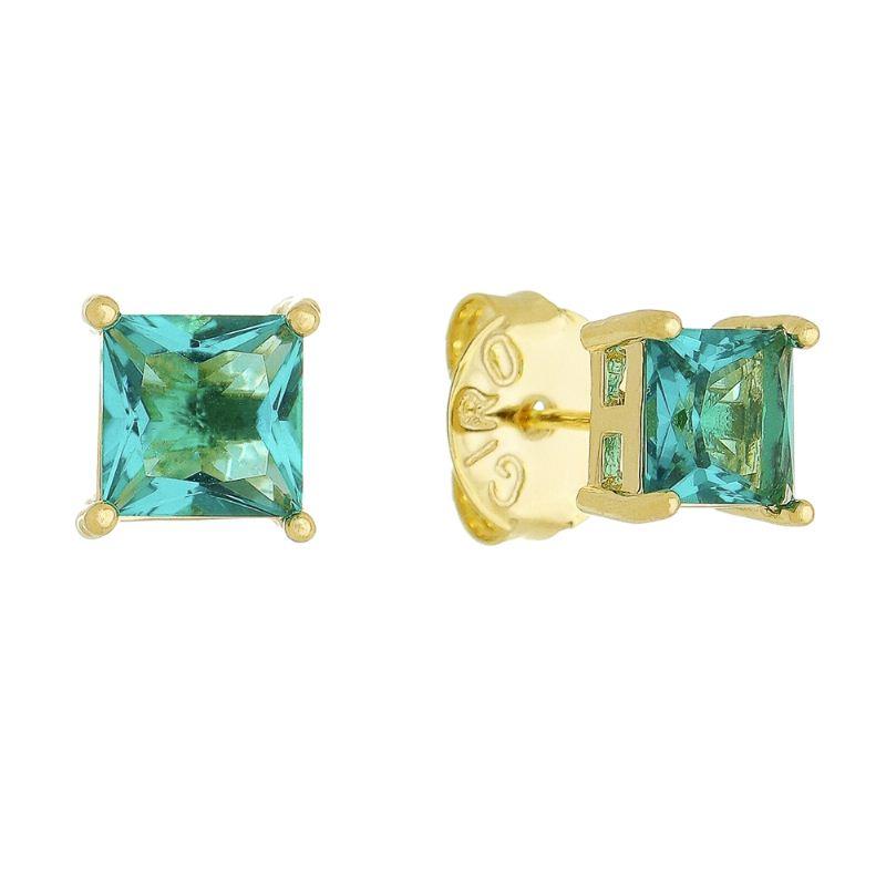 Brinco Quadrado Com Pedra Cristal Verde Água M Folheado em Ouro 18k - Giro Semijoias
