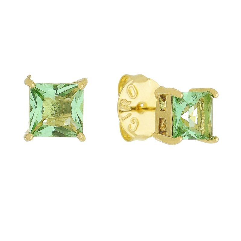 Brinco Quadrado com Pedra em Cristal Folheado em Ouro 18k - Giro Semijoias