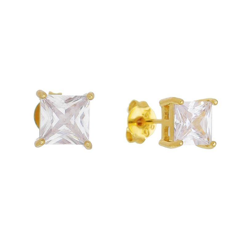 Brinco Quadrado com Pedra em Cristal M Folheado em Ouro 18k - Giro Semijoias