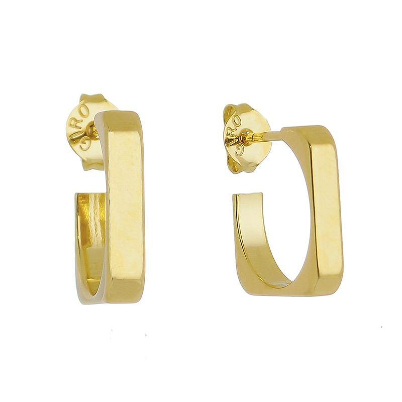 Brinco Quadrado Grosso Ouro 18k- Giro Semijoias