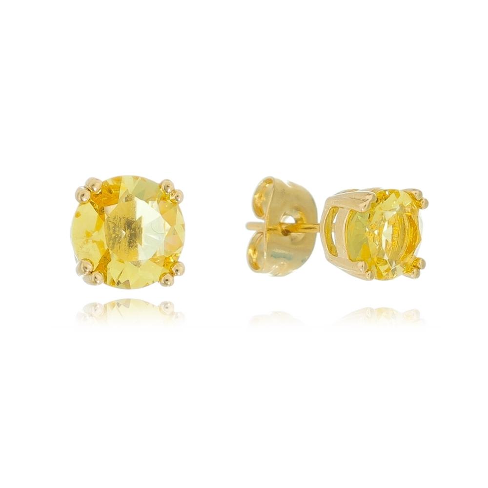 Brinco Redondo com Pedra Zircônia Amarelo Ouro 18k