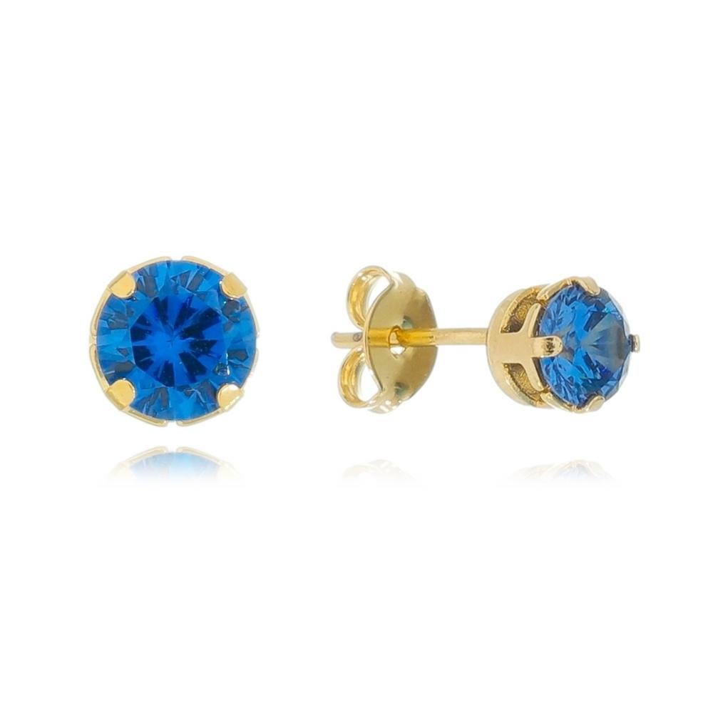 Brinco Redondo com Pedra Zircônia Azul Claro Folheado em Ouro 18k