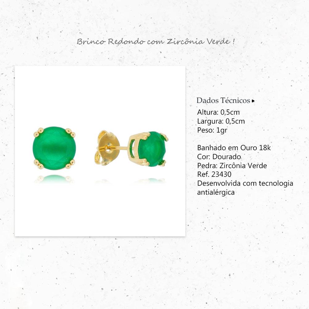 Brinco Redondo com Pedra Zircônia Verde Ouro 18k - Giro Semijoias