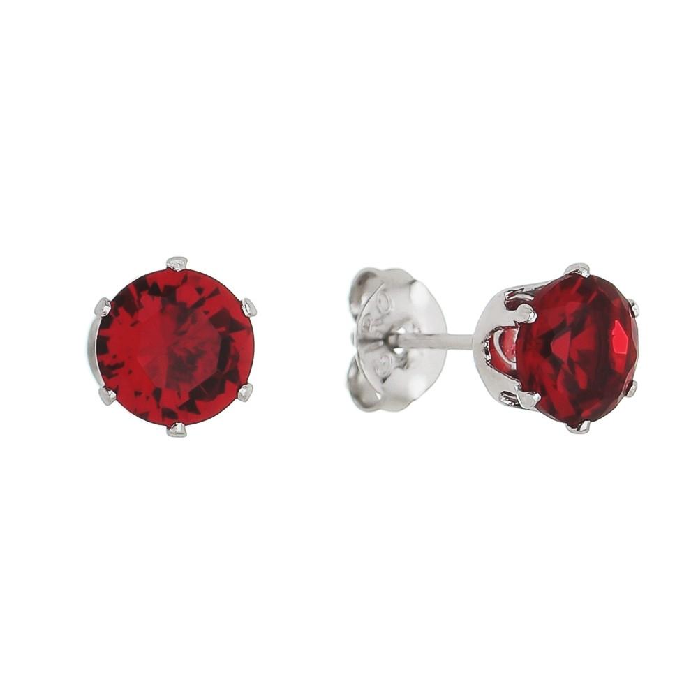 Brinco Redondo Cristal Vermelho Ródio Branco- Giro Semijoias