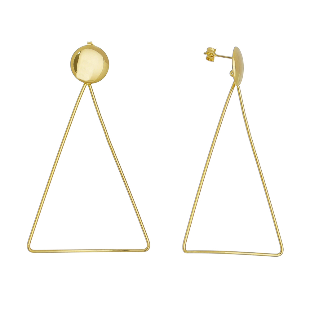 Brinco Triângulo Curvo Pino Oval Folheado em Ouro
