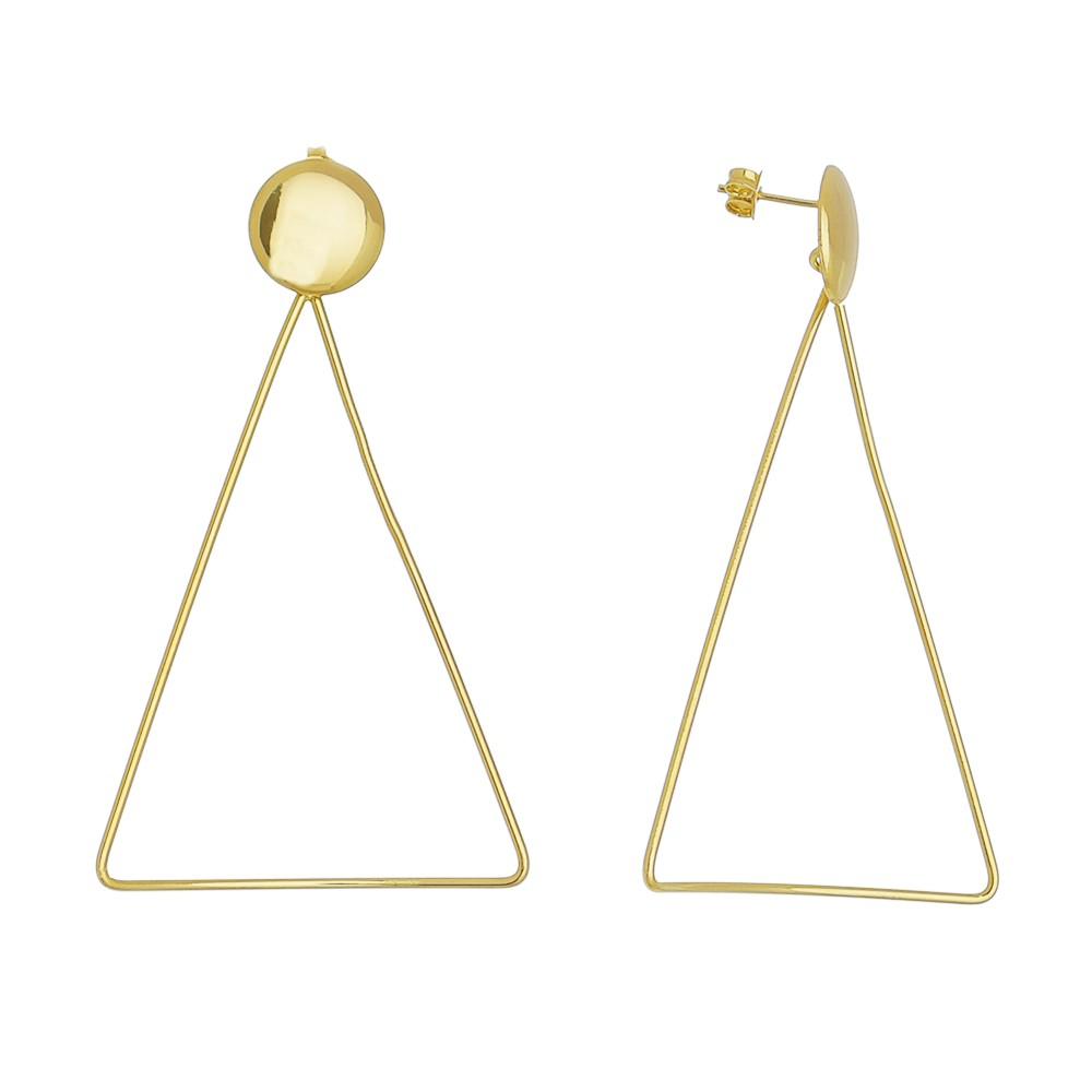 Brinco Triângulo Curvo Pino Redondo Harding - Banho Ouro 18k