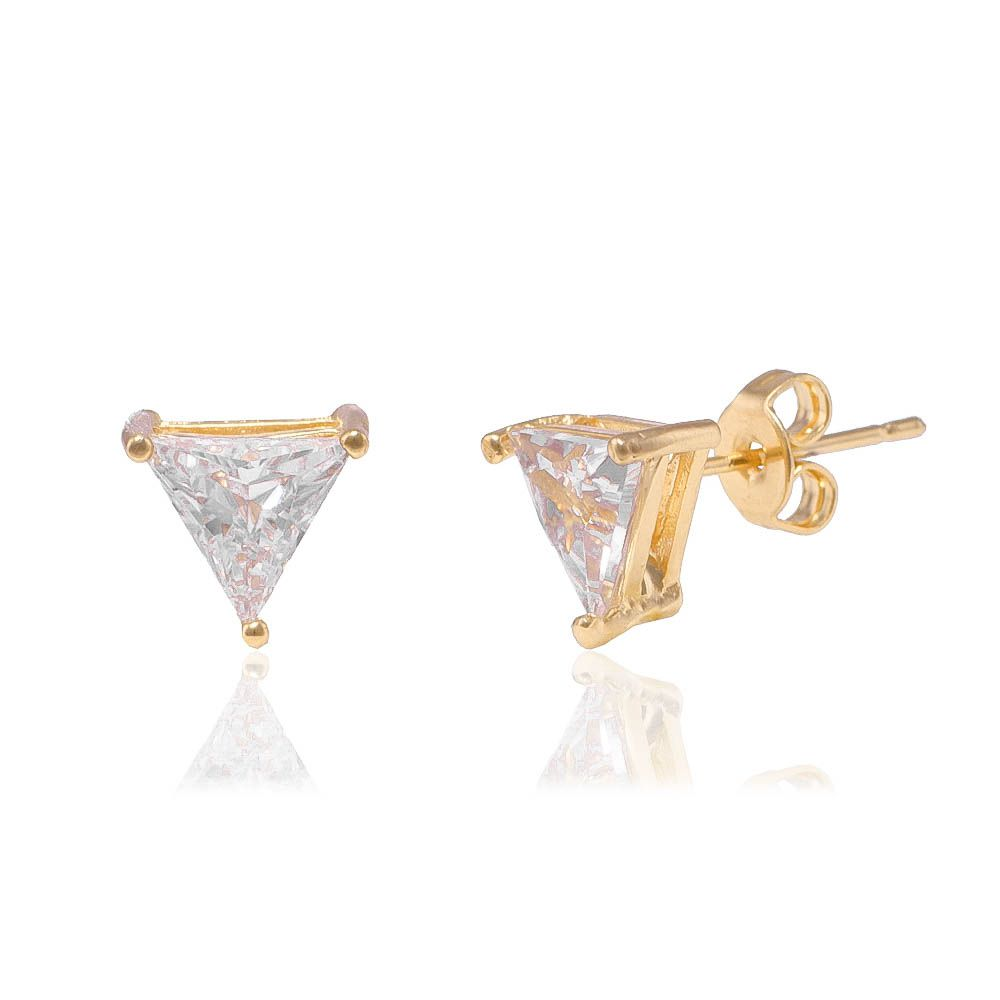 Brinco Triangulo em Zircônia Banho Ouro 18k - Giro Semijoias