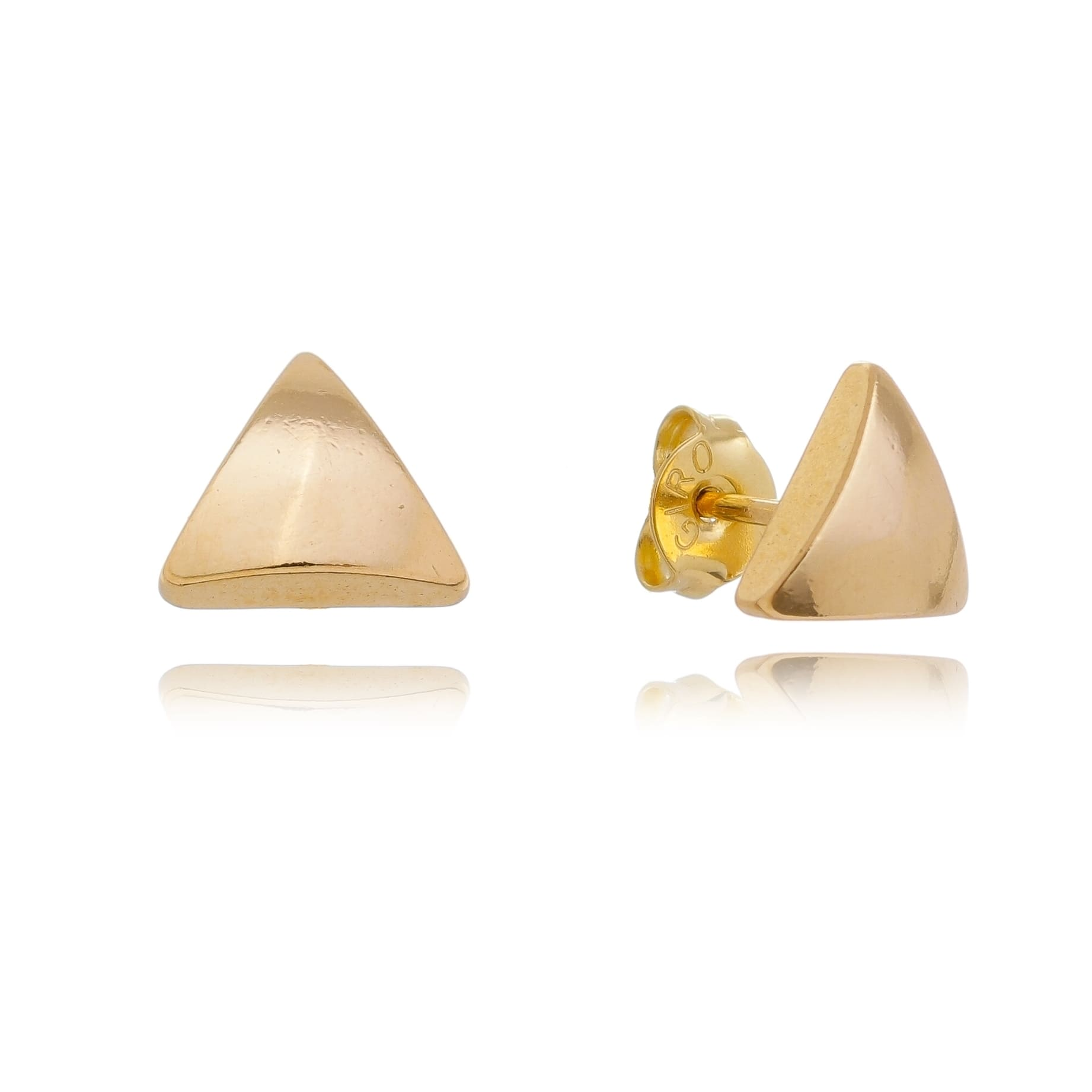 Brinco Triângulo Liso Folheado em Ouro 18k - Giro Semijoias
