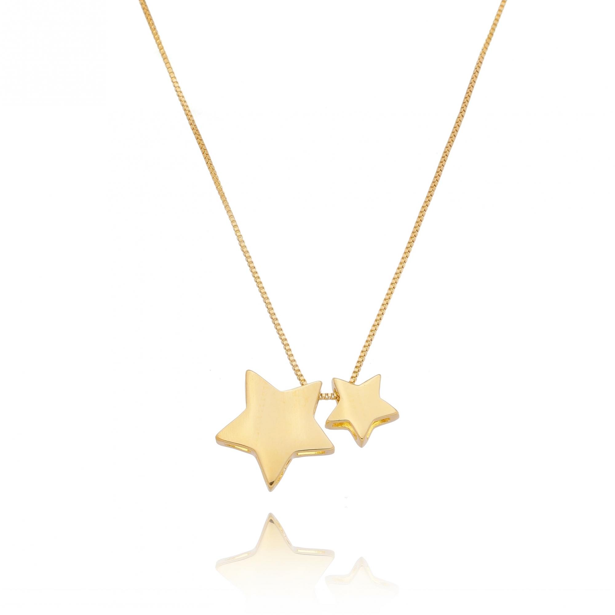 Colar 2 Estrelas Lisas Folheado em Ouro18k