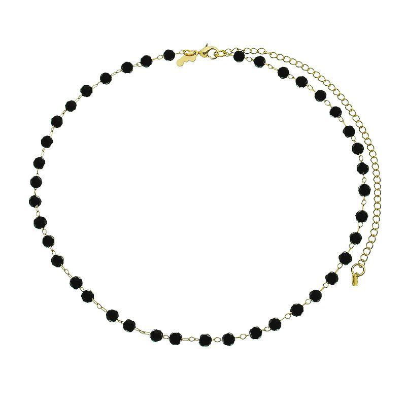 Colar Bolas Cristal Negro Ouro 18k- Giro Semijoias