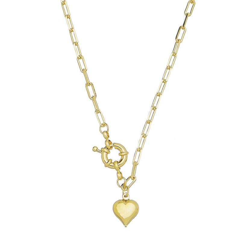 Colar C/ Pingente de Coração e Fecho Boia Ouro 18K- Giro Semijoias