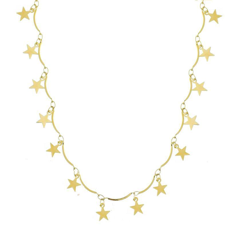 Colar C/ Pingentes de Estrelas Ouro 18k- Giro Semijoias