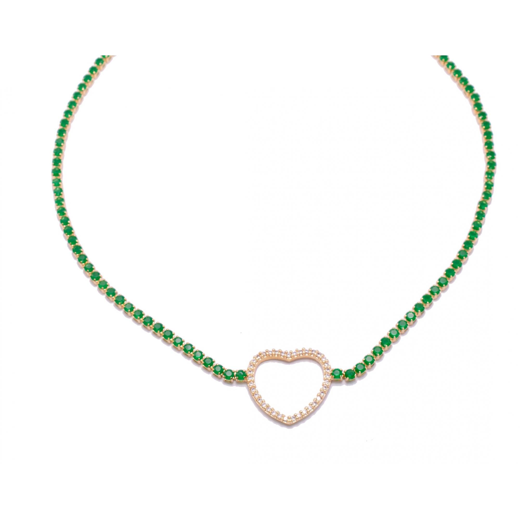 Colar Choker Coração com Zircônias Verdes Folheado em Ouro 18k